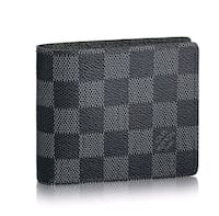 black and gray monogram Coach leather wallet