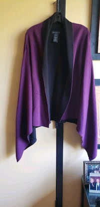 Two toned plum and black  sweater cardigan with lo