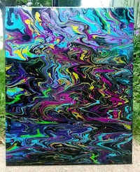 """PRP/GRN/BLS Abstract Painting On Canvas (16x18"""") Sioux Falls, 57104"""