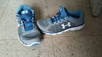 pair of gray and blue Under Armour mid top sneakers 1183 mi