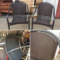 """Nice quality sturdy 42"""" patio table w/ a hole for the umbrella & 2 matching chairs. 2325 mi"""
