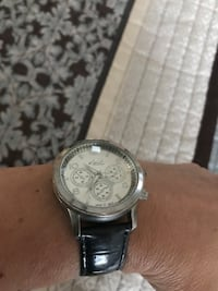 Round silver chronograph watch with leather band Fountain Inn, 29644