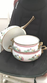 white , pink and green Floral ceramic cooking pots