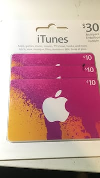 Three $10 apple gift cards not opened or used Burlington