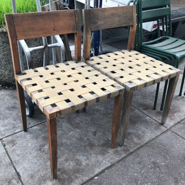 #25338 Pair of Weathered Teak Patio Chairs