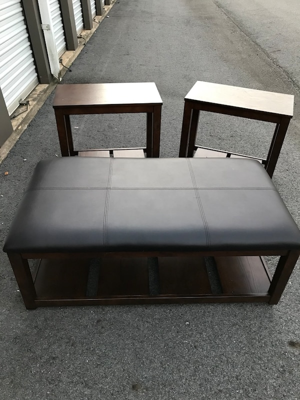 Leather Top Coffee Table On Rollers And 2 Brown End Tables