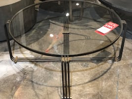 Elte brass glass table
