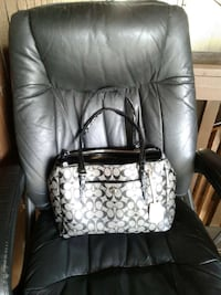 white and black Coach leather tote bag Augusta
