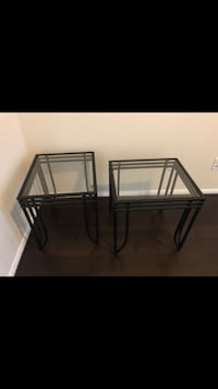 2 glass side tables. Good condition