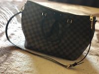 Black and gray monogrammed LOUIS VUITTON leather crossbody bag