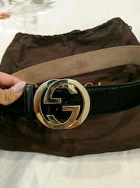 black Gucci leather belt with gold buckle Vancouver, V5N 3R9