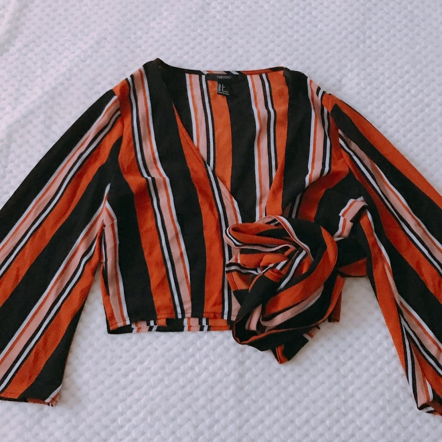 F21 striped crossover blouse
