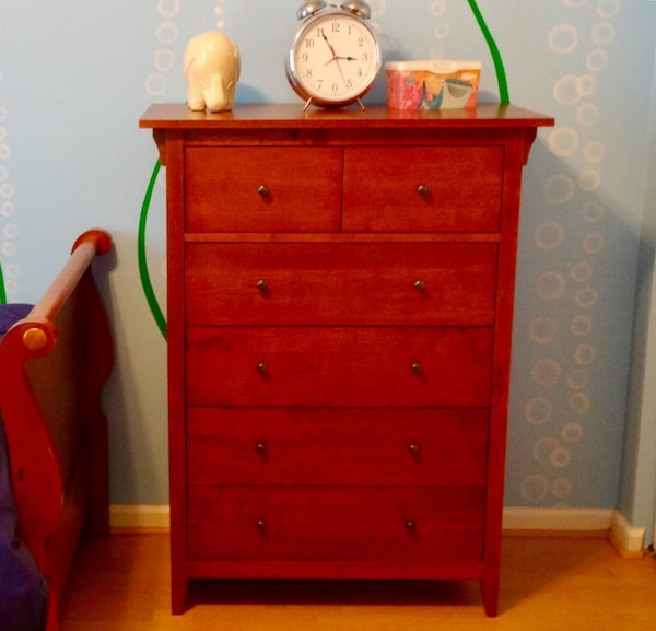 Used Red Wooden Drawer Tallboy Dresser For Sale In