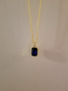 14K Gold Plated Chain with Iced Out Sapphire