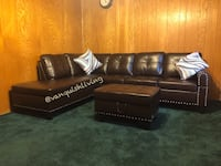 Brand New Espresso Sectional Nailhead Trimming Cup Holder Ottoman Bunker Hill Village, 77024