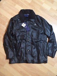 Black leather button up jacket