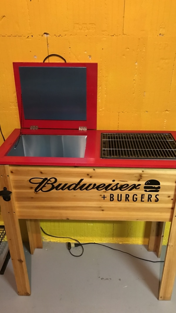 Brown Wooden Budweiser Burgers Grill And Cooler
