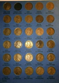 Beautuful 1909-1940 Lincoln Cent Wheat Penny set Methuen, 01844