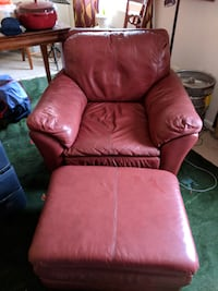 Red leather chair with ottoman Arlington