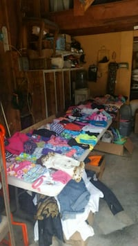 Yard sale lots of goodies dog clothes air hockey   Muskegon, 49442