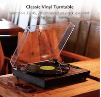 Brand New in Box Vintage Bluetooth Vinyl Turntable Record Player with