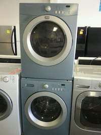 two white front-load clothes washer and dryer set 790 km