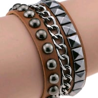 Brown Rivet Layered Snap Leather Bracelet  Brampton, L6T 3L5