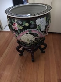 Asian Hand Painted Carved Planter with Black Stand Wilmington, 19803