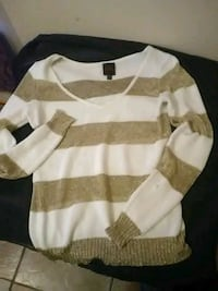 white and brown striped plunging sweater Donna, 78537