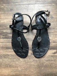 Women's size 8 Coach black sandals with silver logo Murrells Inlet, 29576