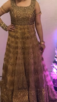Women's Golden anarkali Indian dress  Toronto, M1L 2Z7