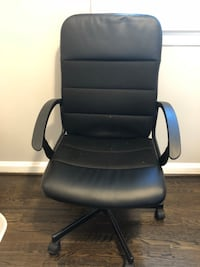 black leather office rolling armchair Silver Spring