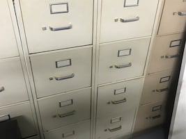 White/ cream metal 4-drawer filing cabinet  4 available