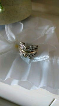 silver-colored ring with clear gemstones Calgary, T3A 3H1