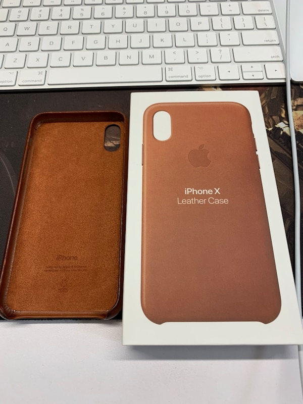 newest 6237e 7d281 Genuine Apple Leather Case iPhone X