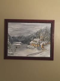 Church in the snow. Hand painted with oil...24x36 Chattanooga, 37421