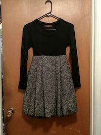 Black and Gray long-sleeved dress