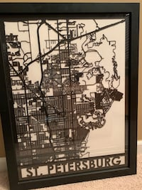 Black and white wooden framed wall decor of St. Petersburg Florida  Novi, 48377