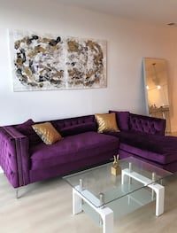 purple suede sectional couch with throw pillows Washington, 20374