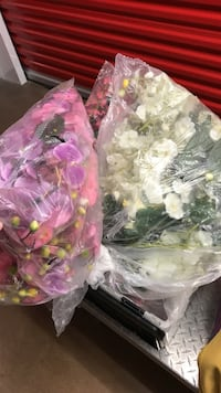 two pink and white artificial flowers decors packs