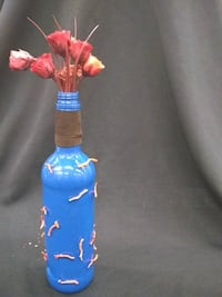 blue and red glass bottle decor