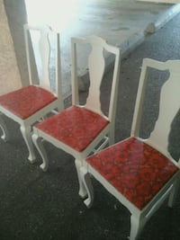 four red and white wooden chairs Victoria, V8T 1E7