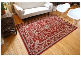Traditional Isfahan Red Floral Area Rug