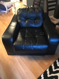 Black leather sofa chair with ottoman Fairfax, 22033