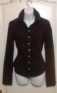 Black button-up long-sleeved Dress shirt: Size Small