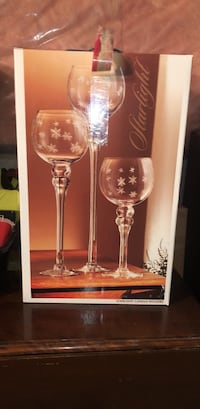 3 stemmed glass candle holders- with snowflake detail 523 km