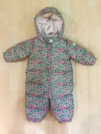 baby's white and pink floral footie pajama