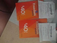 Freedom mobile top up cards.  Cambridge, N1T 1V5