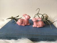 Vintage set of two Pink Bunny salt and pepper shakers, miniature, Easter, Mother's Day