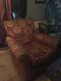 maroon yellow floral sofa chair
